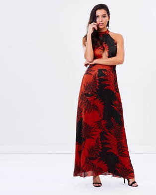 Honey and Beau – Palms Halter Maxi – Dresses (Red Print)