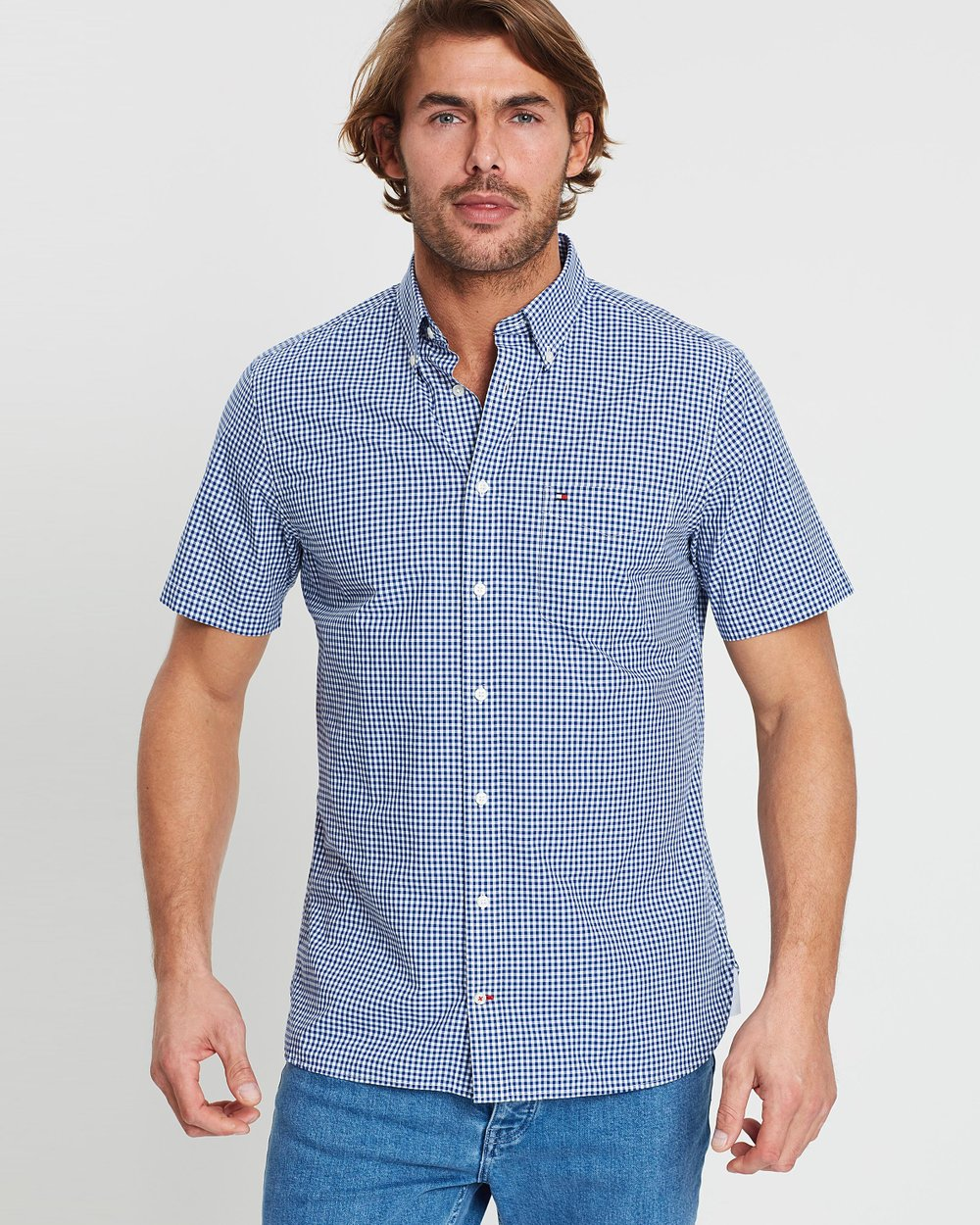 ba4faed8 Custom Gingham Short Sleeve Shirt by Tommy Hilfiger Online | THE ICONIC |  Australia