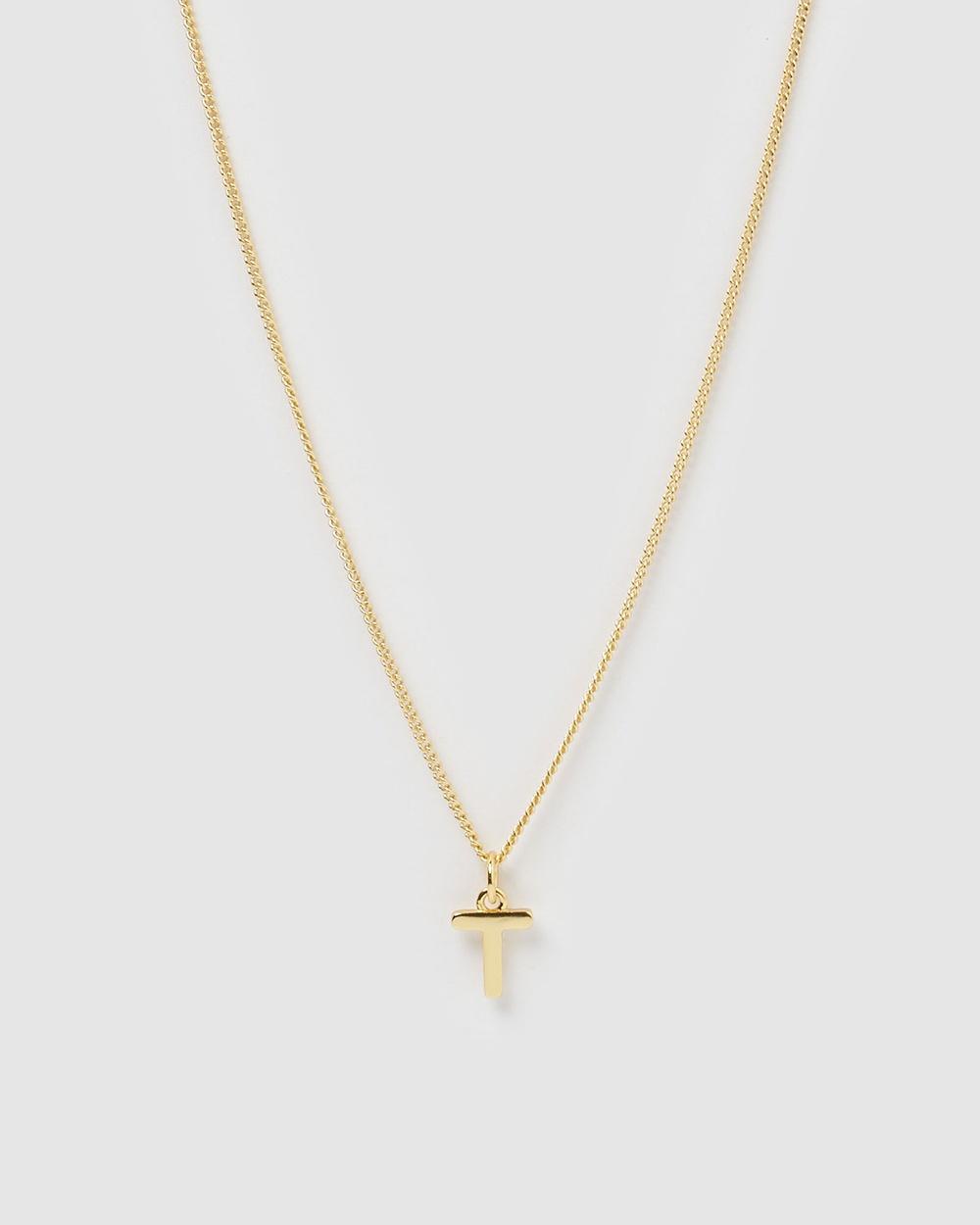 Izoa Alphabet Letter T Necklace Jewellery Gold