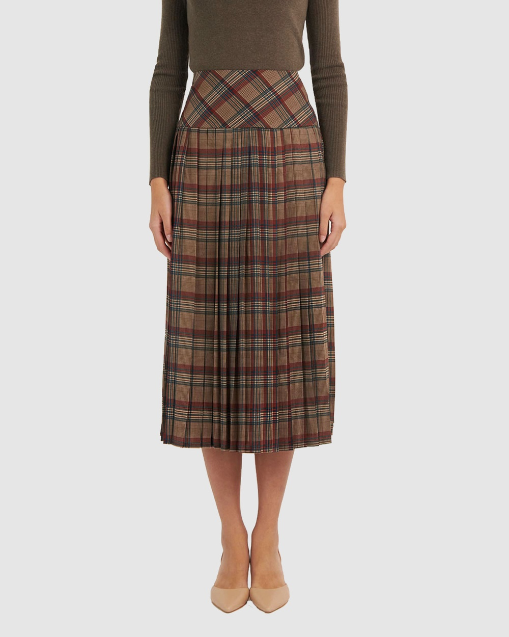 Forcast Alexa Pleated Check Skirt skirts Multi