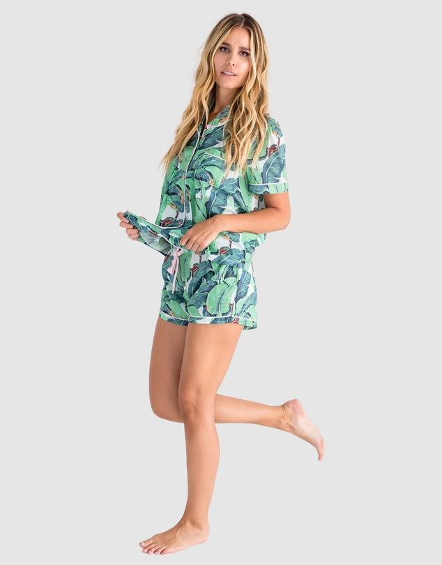 Women Martinique Banana Leaf Short Sleeve Shirt + Boxer Set