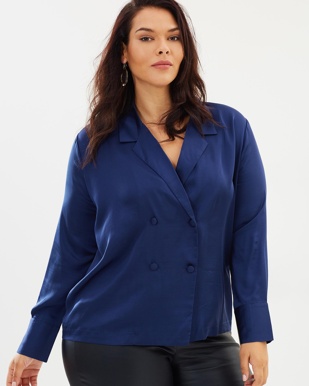 Atmos & Here Curvy ICONIC EXCLUSIVE Erin Tuxedo Top Tops Navy ICONIC EXCLUSIVE Erin Tuxedo Top