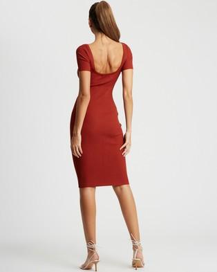 BWLDR Linda Knit Dress - Bodycon Dresses (Rust)