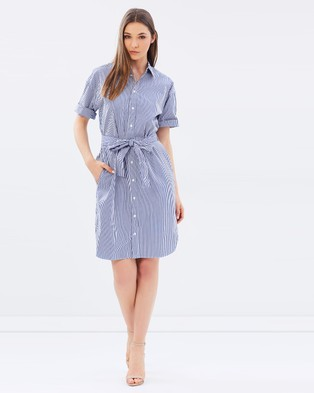 Polo Ralph Lauren – Striped Cotton Shirt Dress Blue Stripe