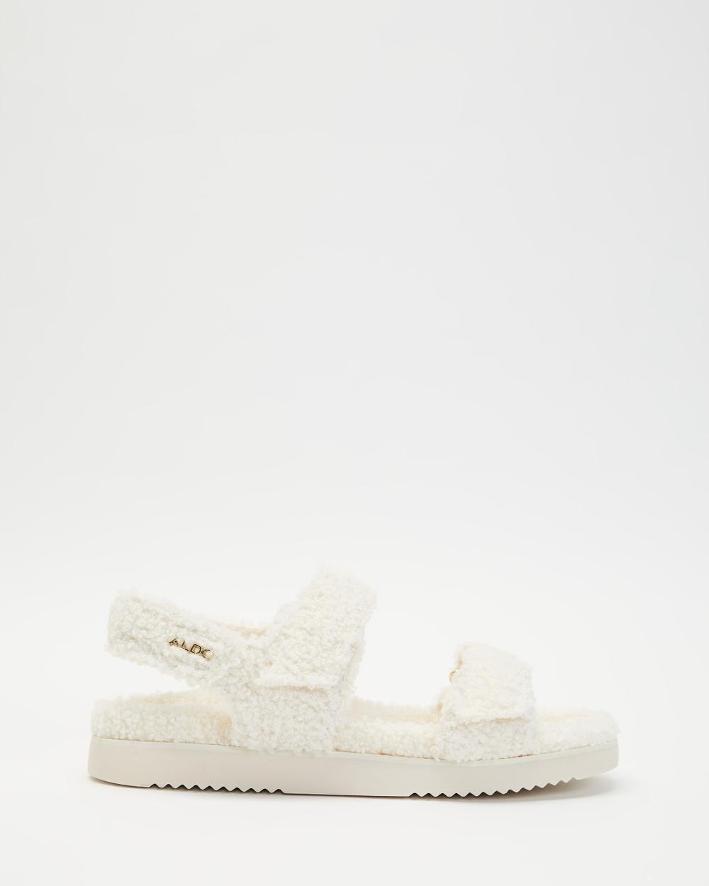 ALDO Cloud Faux Fur Slides Sandals White