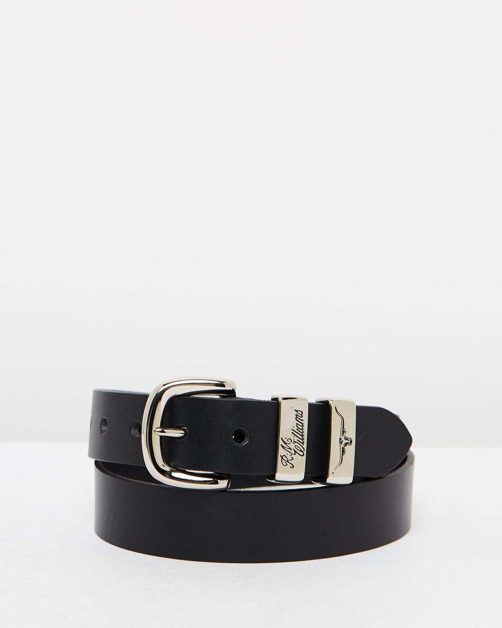 "R.M.Williams 1 4"" 3 Piece Sold Hide Belt Belts Black 1-4"""