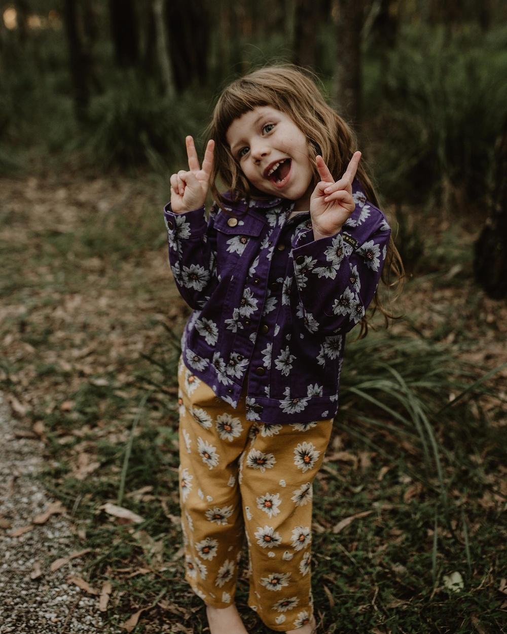 Goldie + Ace THE ICONIC EXCLUSIVE Vintage Wash Daisies Denim Jacket Babies Kids jacket Purple Babies-Kids Australia