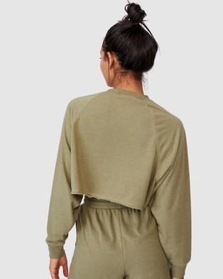 Cotton On Body Active Lifestyle Raglan Fleece Crop - Crew Necks (Oregano Marle)