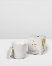 Aery Living - Fernweh Matte Ceramic Candle with Lid - Nordic Cedar