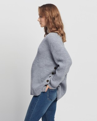 Angel Maternity - Oversized Wool Knit Nursing Jumper Jumpers & Cardigans (Grey)