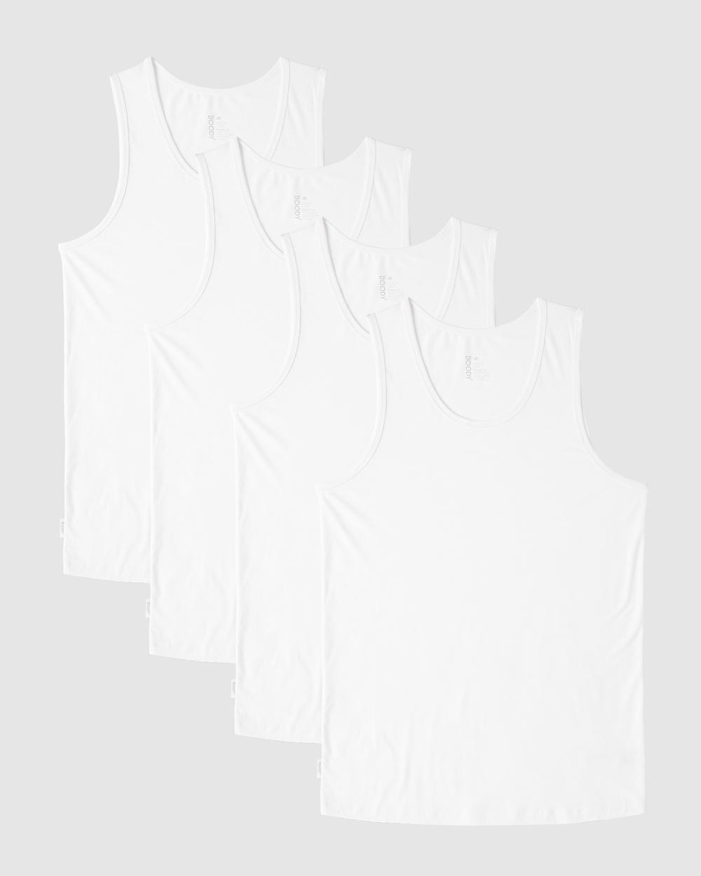 Boody 4 Pack Men's Singlet T-Shirts & Singlets White Singlets Australia