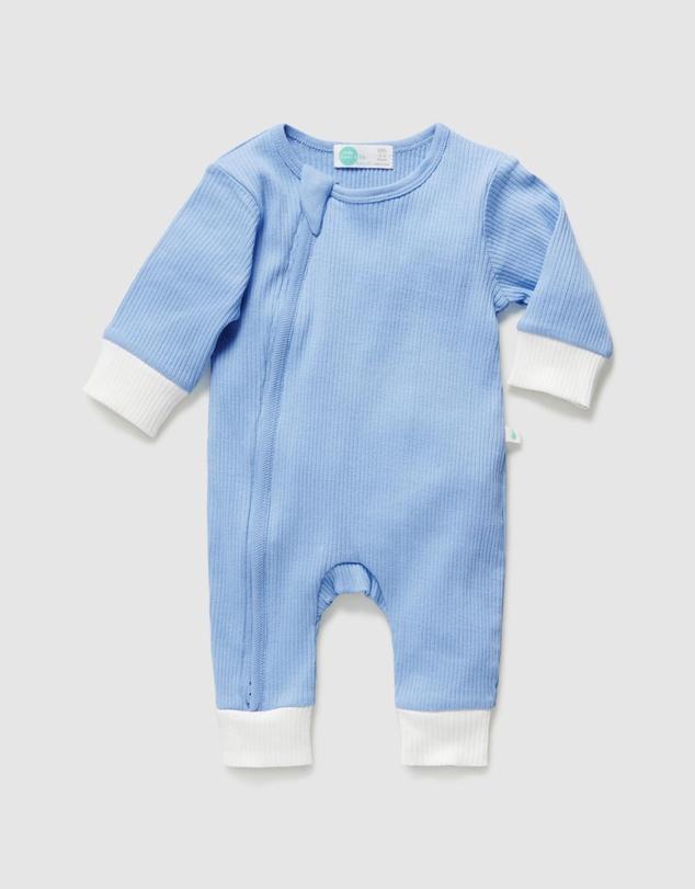 Kids Footless Rib Zip Onesie - Babies