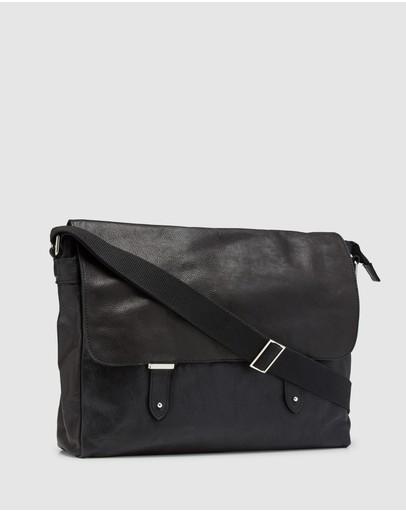 Oxford Finch Leather Messenger Bag Black