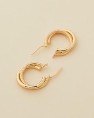 Jackie Mack Double Tube Small Hoops - Jewellery (18K Yellow Gold)