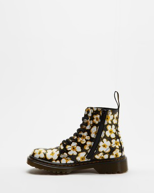 Dr Martens - 1460 Pascal Juniors Lace Boot Kids Boots (Black, Yellow & White)