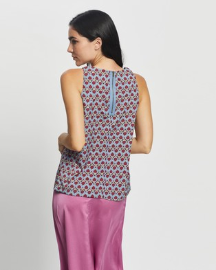 Glamorous Floral Sleeveless Top - Tops (Blue Ditsy Floral)
