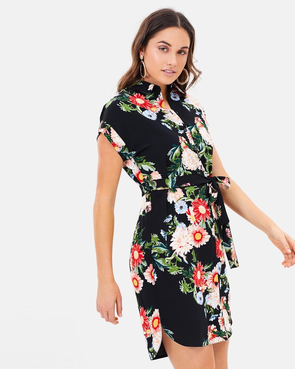 Dorothy Perkins Floral Print Shirt Dress Dresses Black Floral Print Shirt Dress