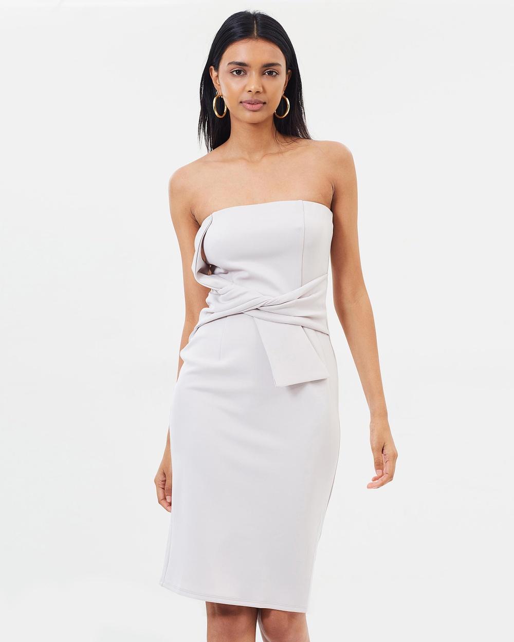 Dorothy Perkins Bandeau Tie Front Body Con Dress Bodycon Dresses Taupe Bandeau Tie Front Body-Con Dress