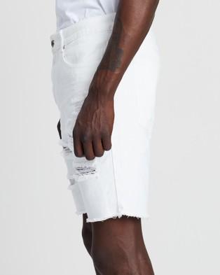 Silent Theory Ramble Ripped Shorts - Denim (WHITE)