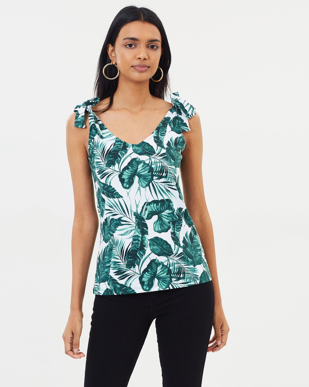 Dorothy Perkins Palm Printed Tie Top Tops Green Palm Printed Tie Top