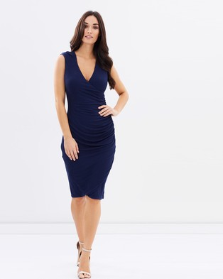 Atmos & Here – Karly Ribbed Gathered Dress – Bodycon Dresses (Navy)