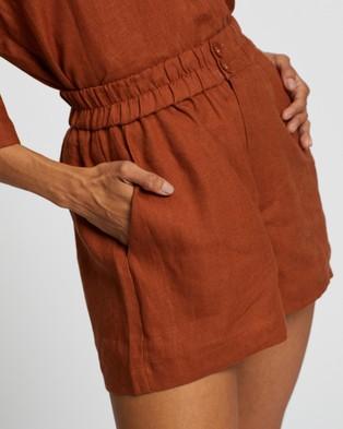 AERE Button Through Linen Lounge Shorts - High-Waisted (Turmeric)