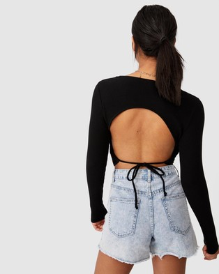 Cotton On - Open Back Long Sleeve Rib Top - Cropped tops (Black) Open Back Long Sleeve Rib Top