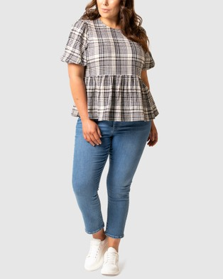 Forever New Curve Kimberly Curve Smock Top - Tops (Check)