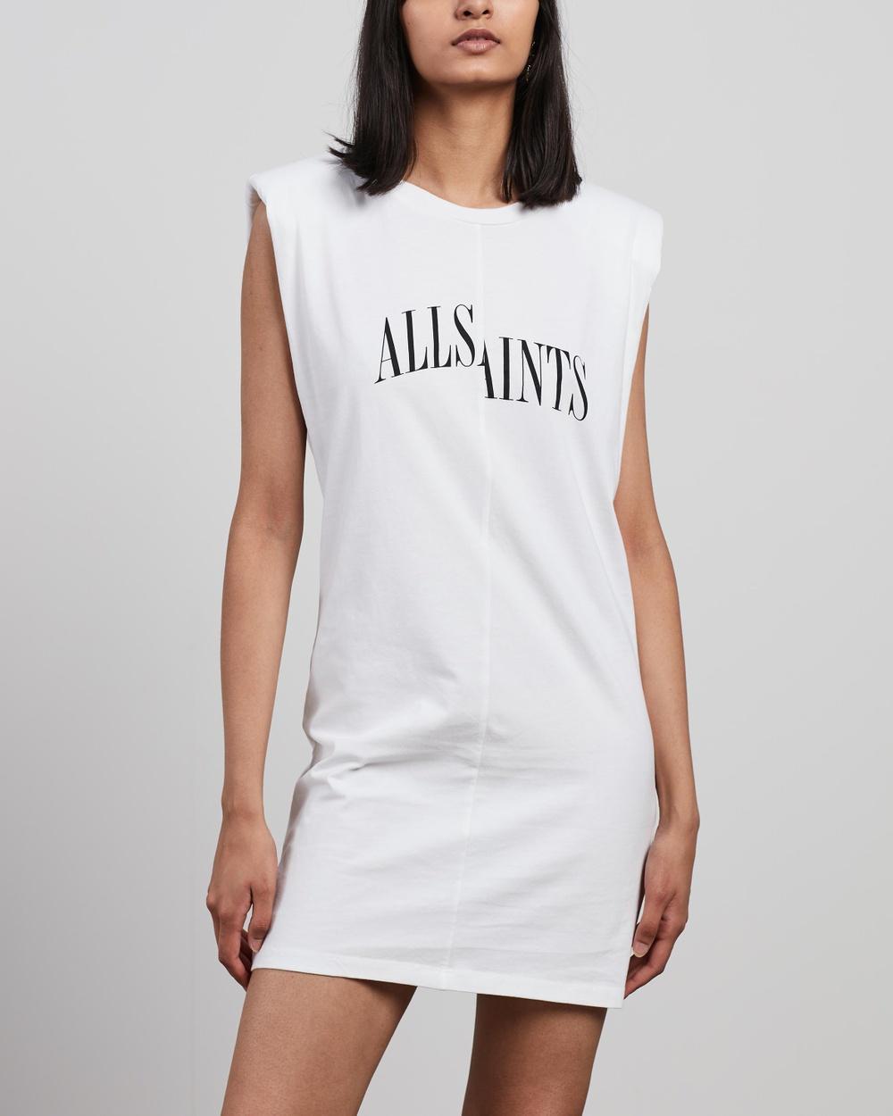 AllSaints Coni Tee Dress Printed Dresses Optic White