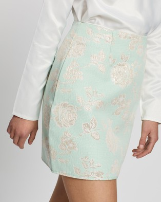 Missguided Co Ord Brocade Floral Mini Skirt - Skirts (Mint)