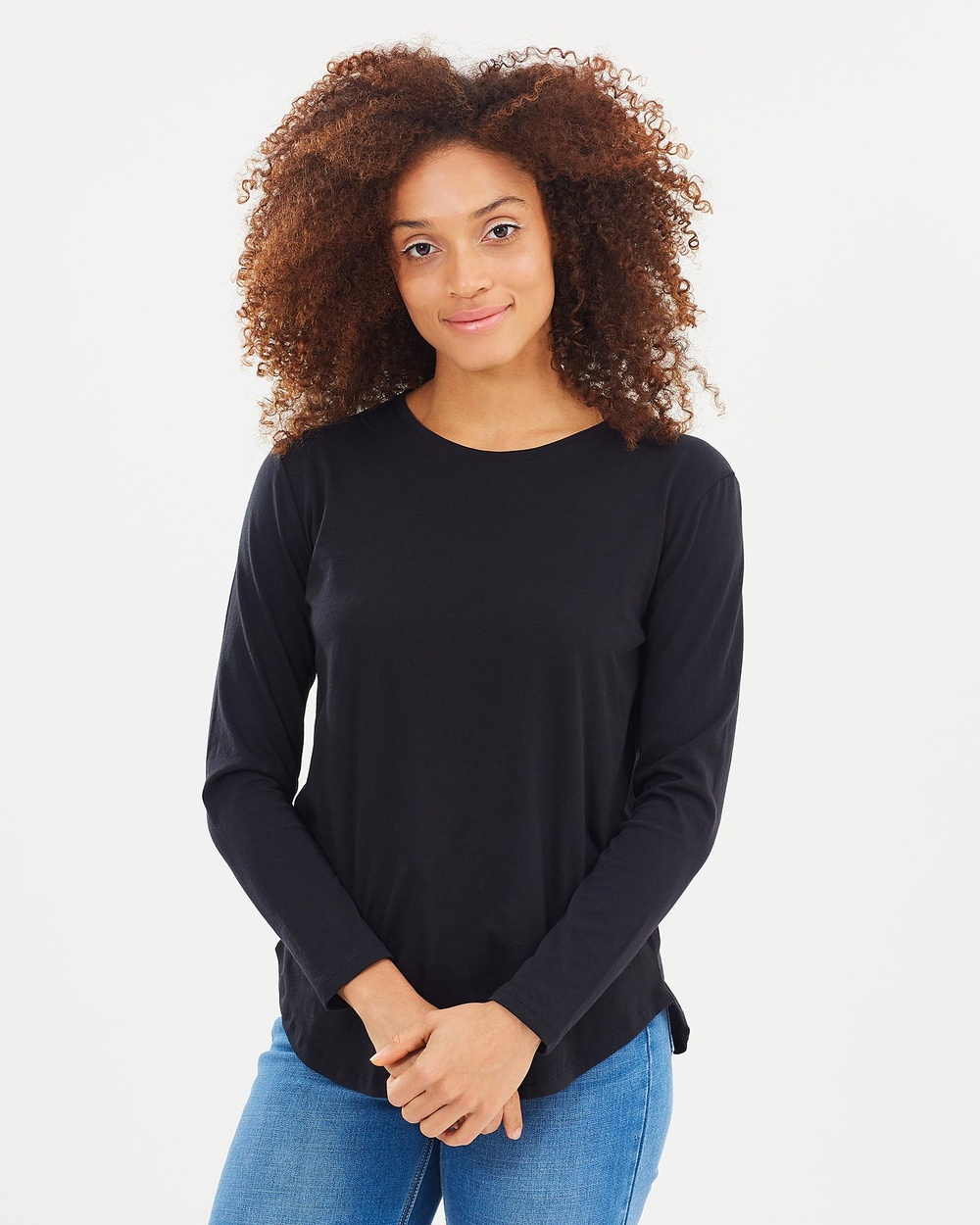 Casa Amuk Saddle Hem Long Sleeve Tee Tops Black Saddle Hem Long-Sleeve Tee
