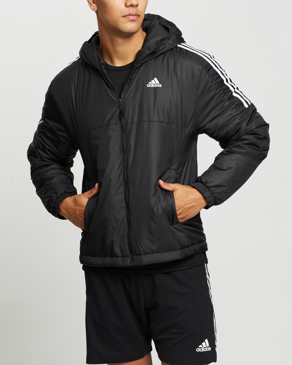 adidas Performance Essentials Insulated Hooded Jacket and Coats Black