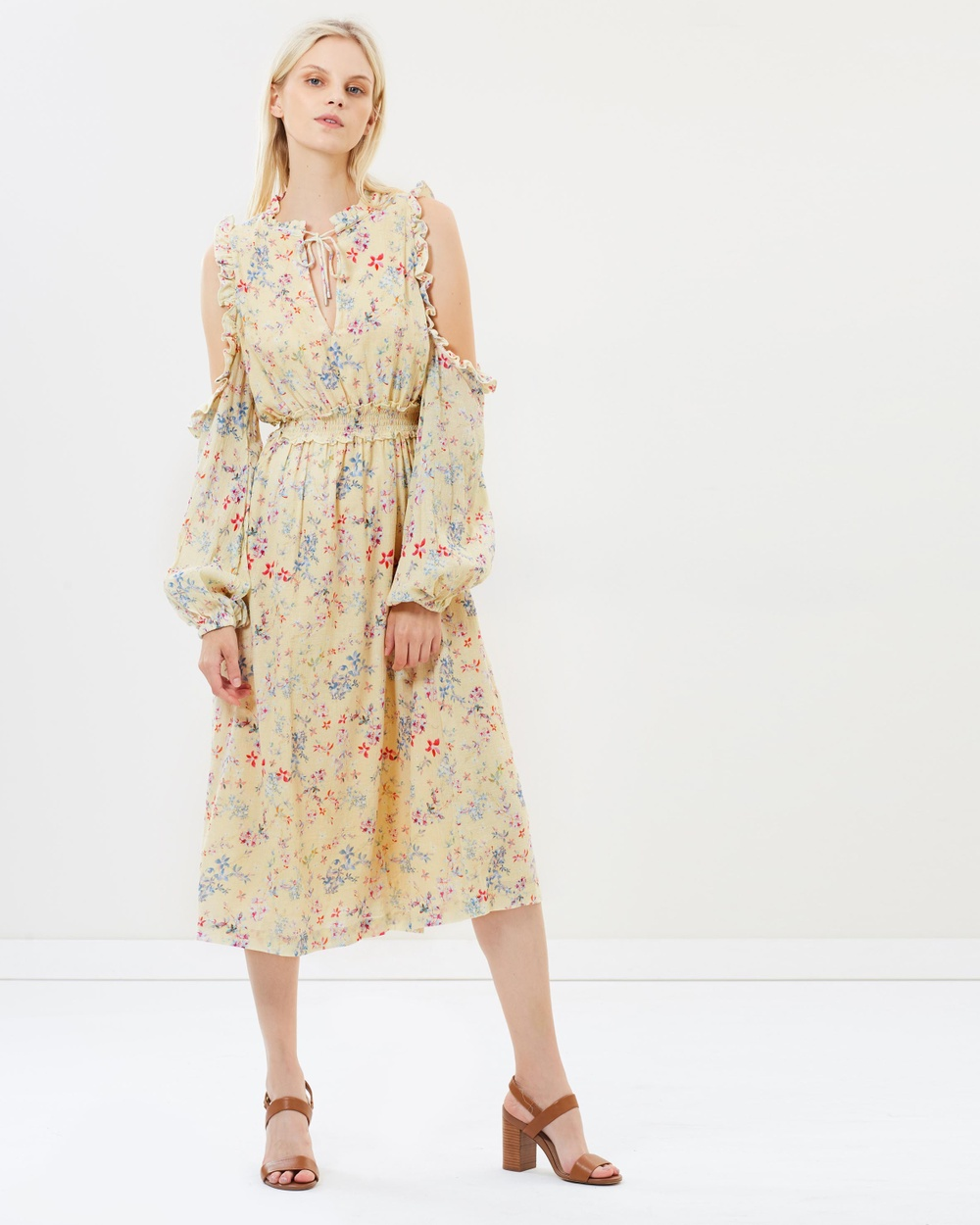 Steele Le Bloom Midi Dress Printed Dresses Vanilla Le Bloom Le Bloom Midi Dress