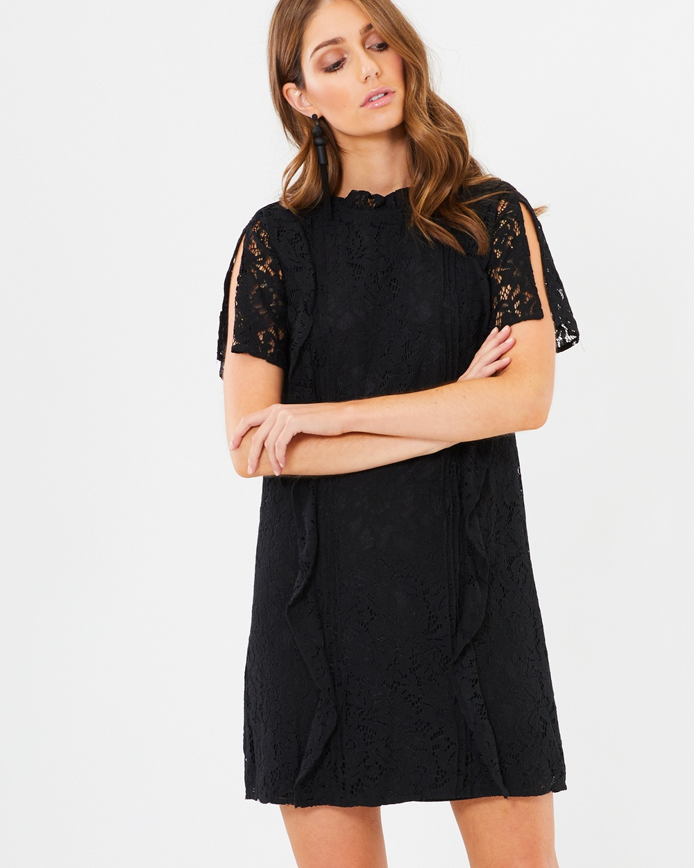 CHANCERY Black Lace Felicia Frill Dress