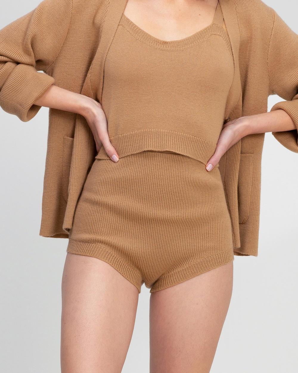 AERE Knit Shorts High-Waisted Neutral