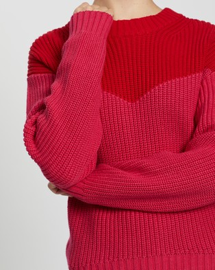 ENA PELLY Colour Blocked Knit - Jumpers & Cardigans (Red & Pink)