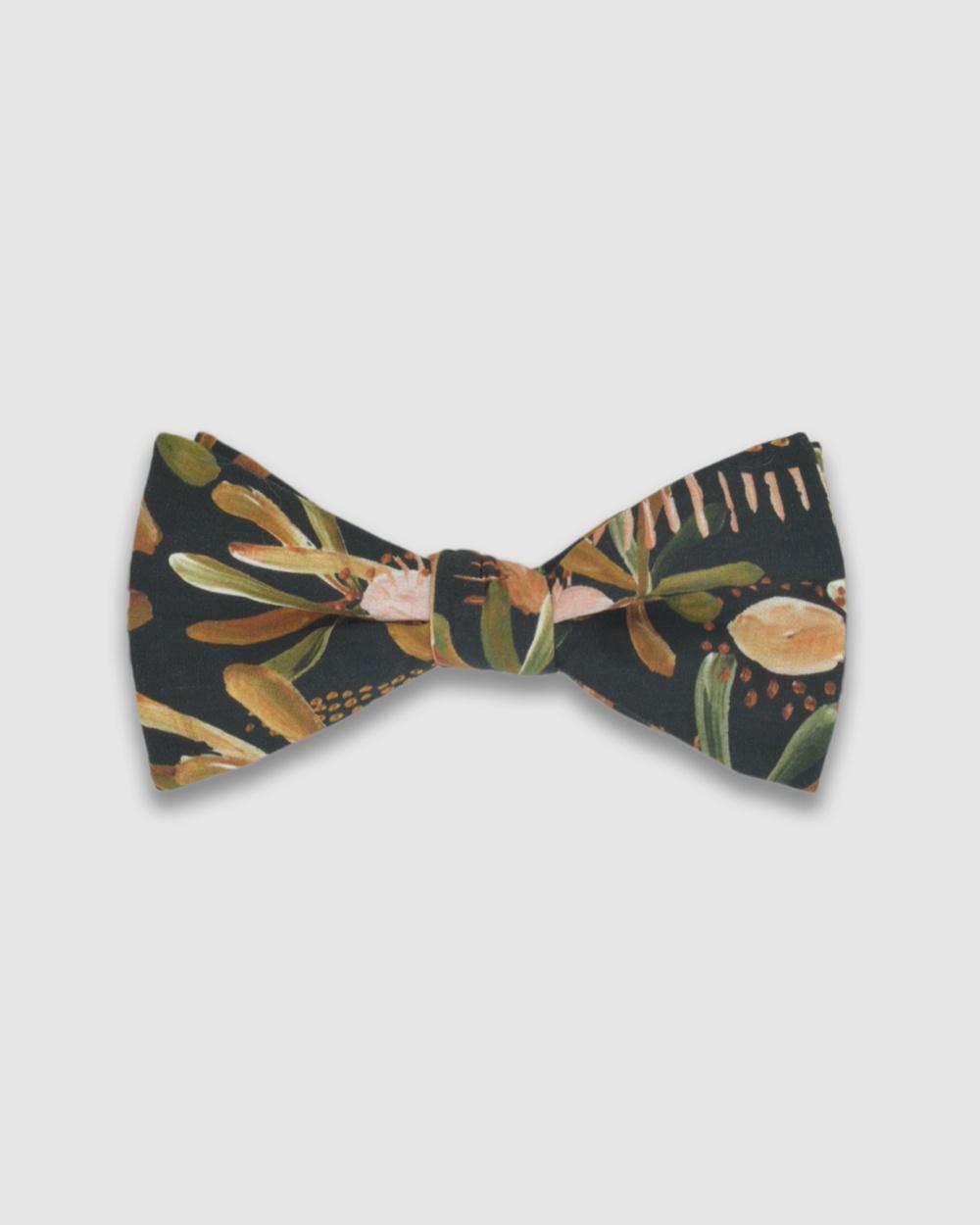 Peggy and Finn Grass Tree Bow Tie Ties & Cufflinks Black Bow Ties Australia