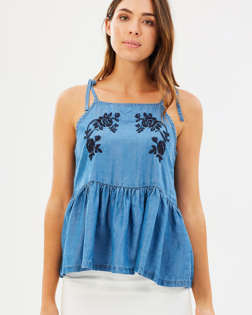 ONLY Stella Embroidery Denim Top Tops Medium Blue Denim Stella Embroidery Denim Top