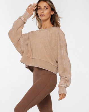Lorna Jane Vintage Wash Batwing Crop Jumper Sweats (Washed Brown)