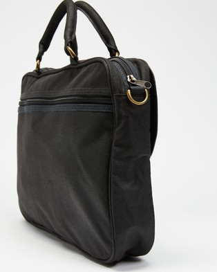 Barbour - Wax Leather Briefcase Bags (Black)