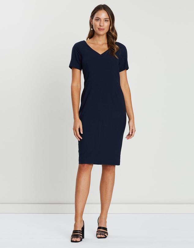 6854c7f22a4ad Lightweight Wool V-Back Dress