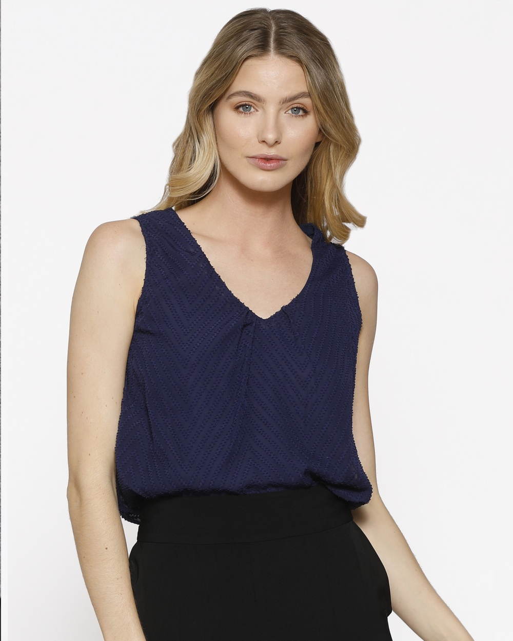 PIZZUTO Blue Bircardi Top Tops Navy Blue Bircardi Top