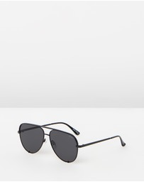 Quay Australia - High Key Polarised Black Aviator Sunglasses