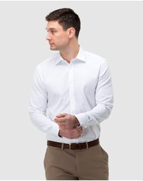 Brooksfield - Textured Plain Reg Fit Business Shirt