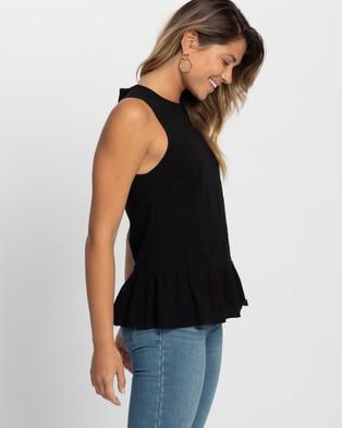 Atmos&Here Thea Linen Blend Blouse - Tops (Black)
