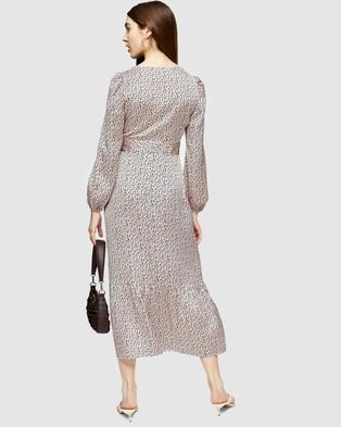 TOPSHOP - Animal Print Loop Neck Midi Dress - Printed Dresses (Pink) Animal Print Loop Neck Midi Dress