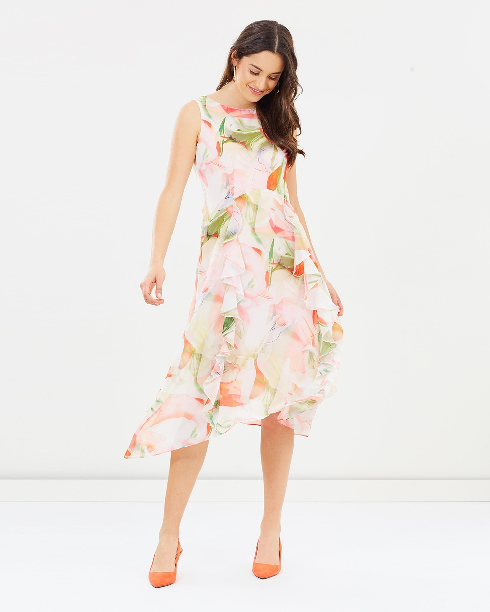 Wallis Spring Floral Ruffle Dress Printed Dresses Pink Spring Floral Ruffle Dress