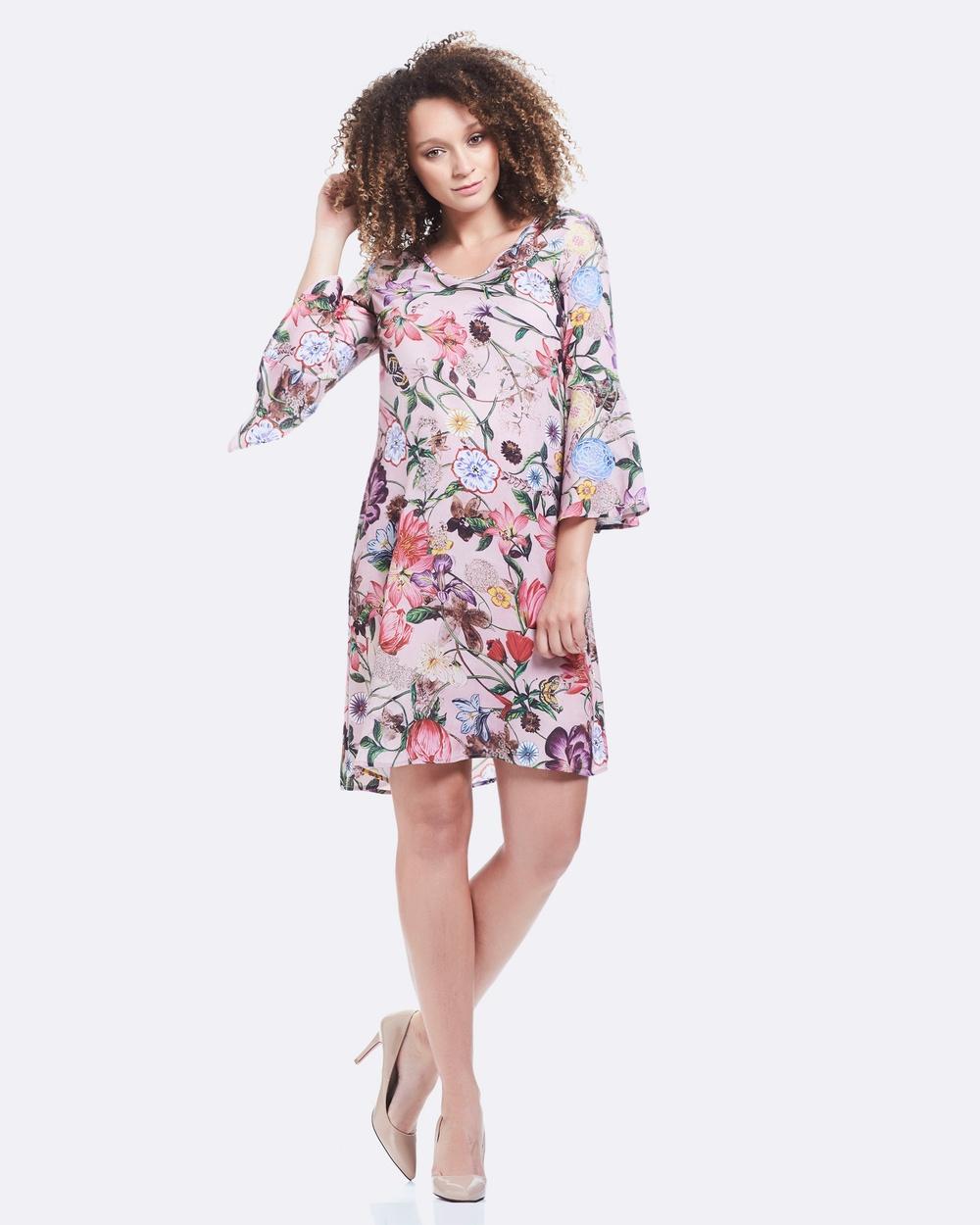 Soon Maternity Harper Bell Sleeve Dress Dresses Pink Harper Bell Sleeve Dress