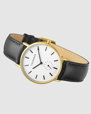 The Horse - The Classic - Watches (Brushed Gold / Black Leather Strap) The Classic