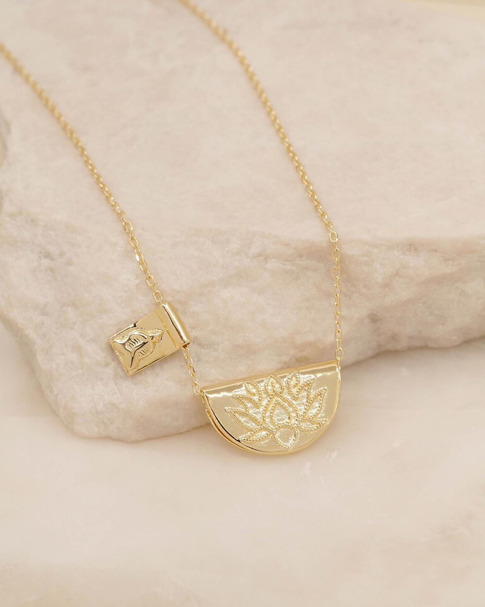 By Charlotte Lotus Little Buddha Short Gold Pendant Necklace Jewellery Gold